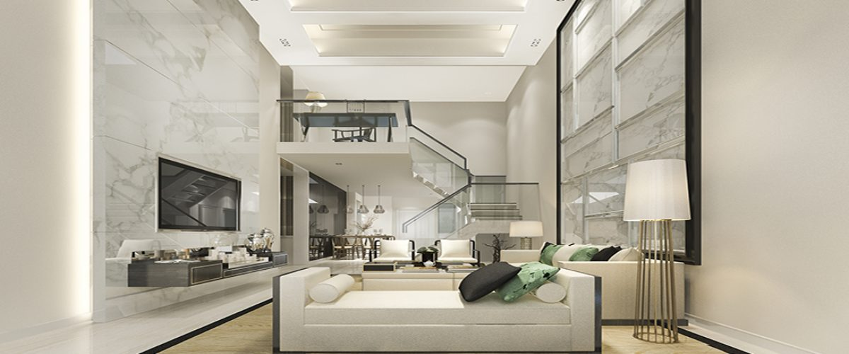 3d rendering white wood living room and kitchen near bedroom upstair